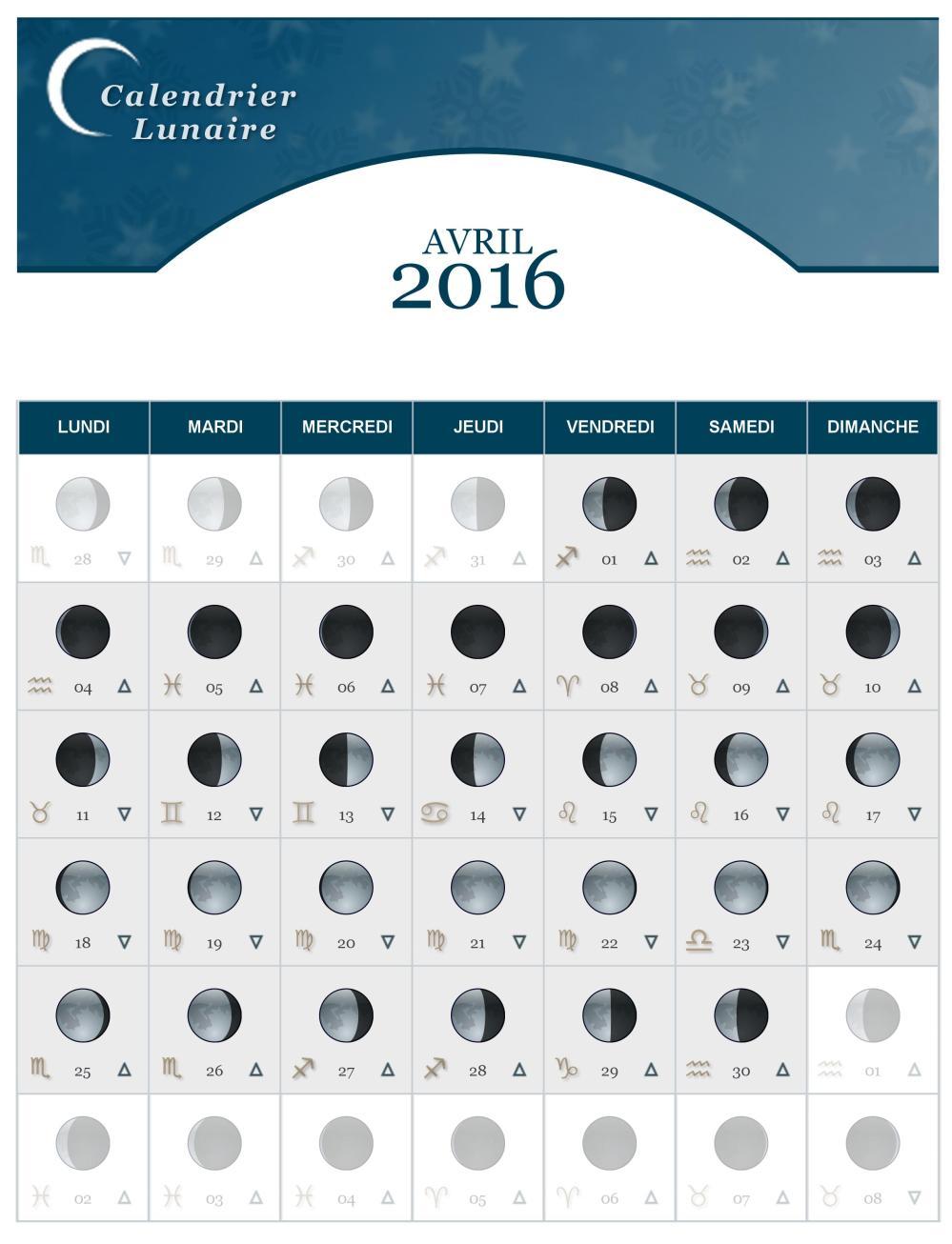 Calendrier lunaire du mois d avril 2016 the lucky cath - Calendrier lunaire decembre 2016 ...
