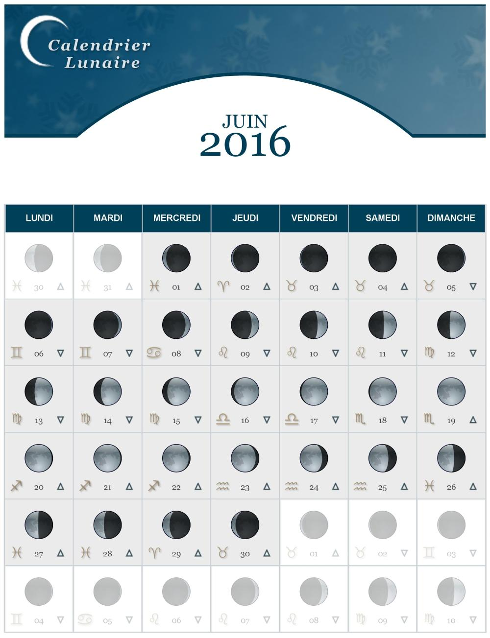 calendrier lunaire du mois de juin 2016 the lucky cath concept. Black Bedroom Furniture Sets. Home Design Ideas