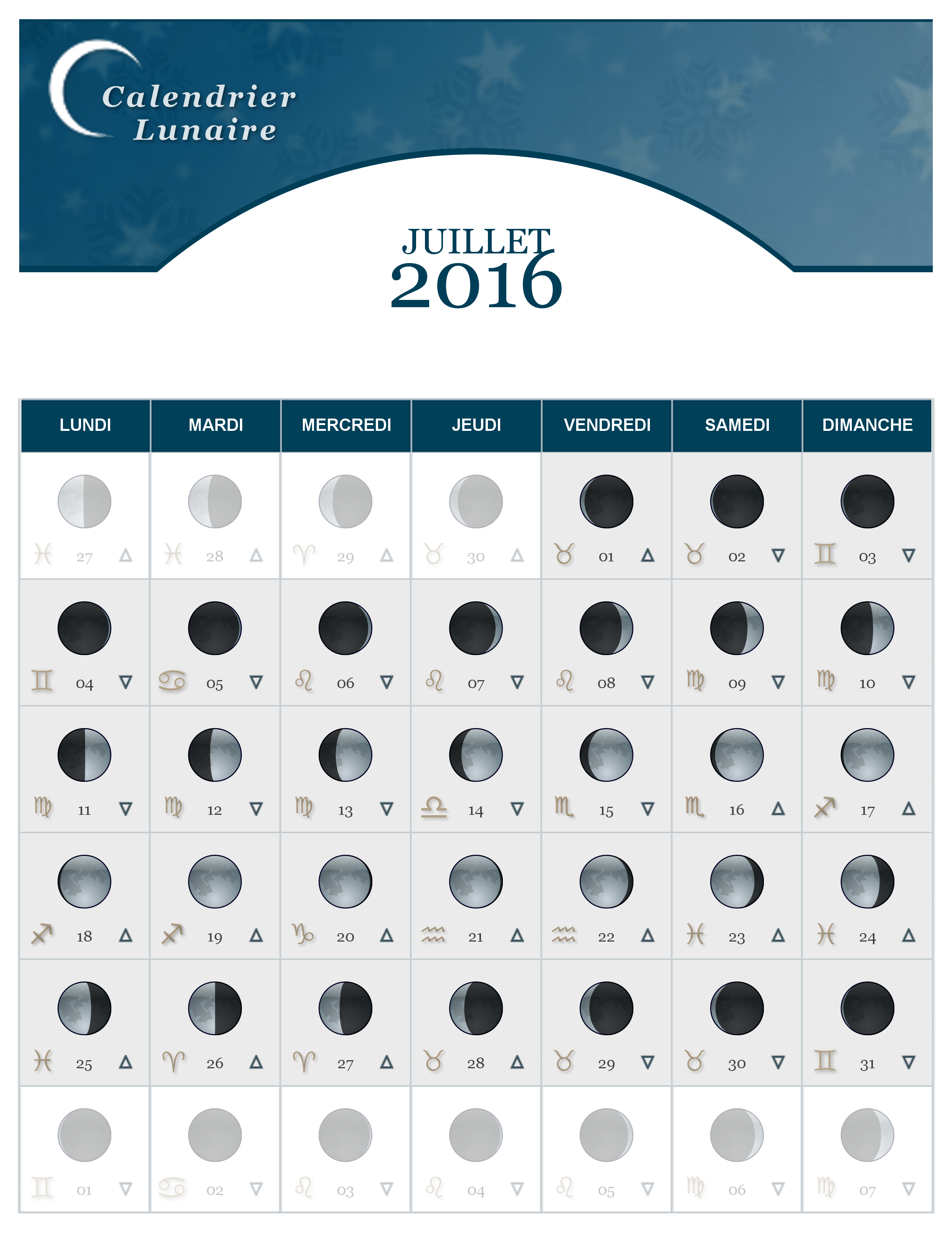 calendrier lunaire du mois de juillet 2016 the lucky cath concept. Black Bedroom Furniture Sets. Home Design Ideas