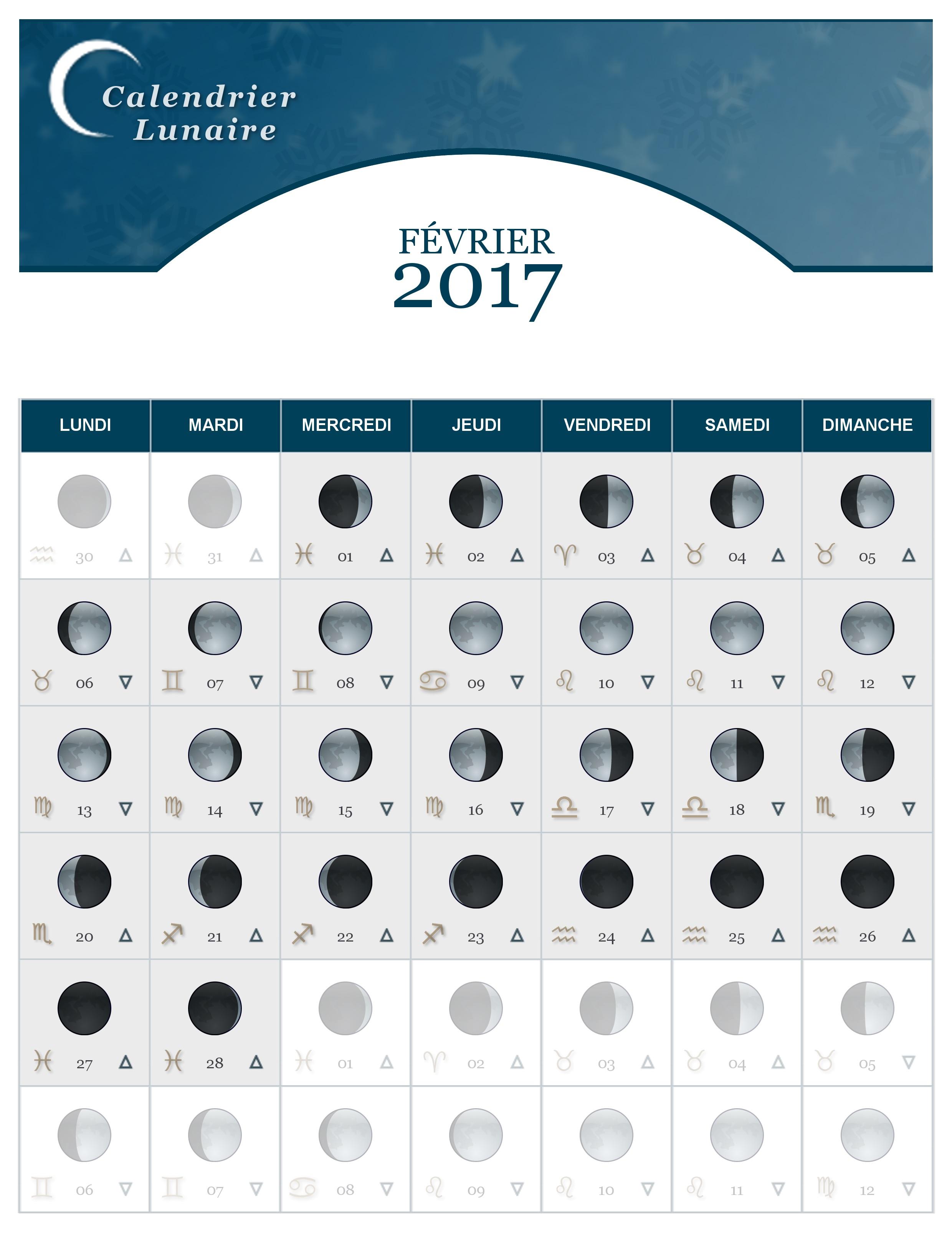 Calendrier lunaire fevrier 2017 - Calendrier lunaire jardin 2017 ...