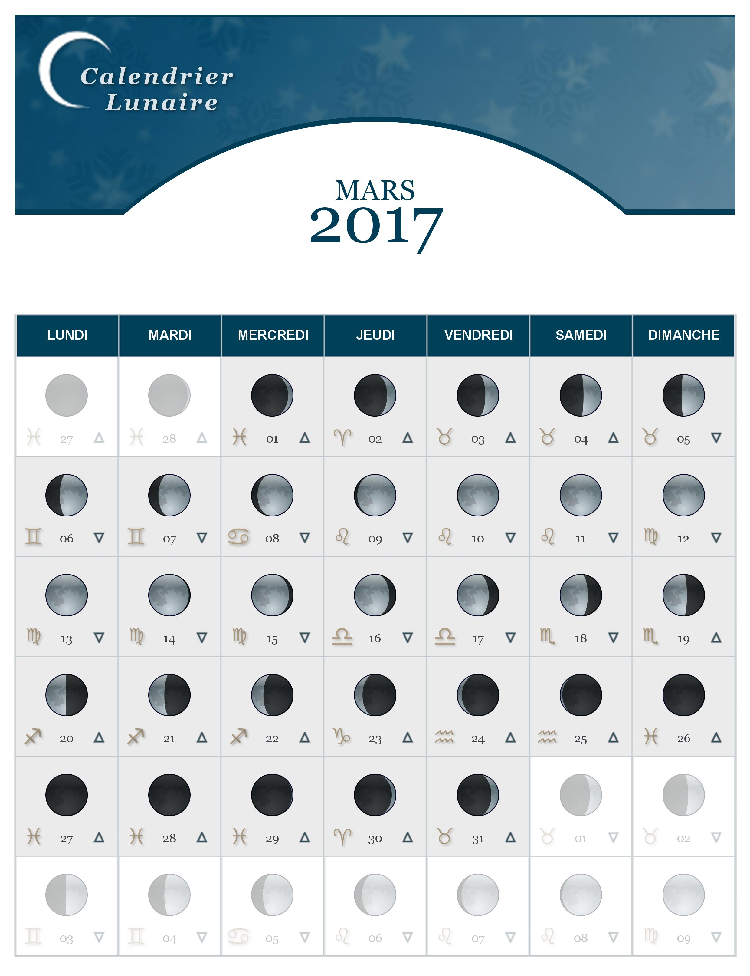 calendrier lunaire du mois de mars 2017 the lucky cath concept. Black Bedroom Furniture Sets. Home Design Ideas