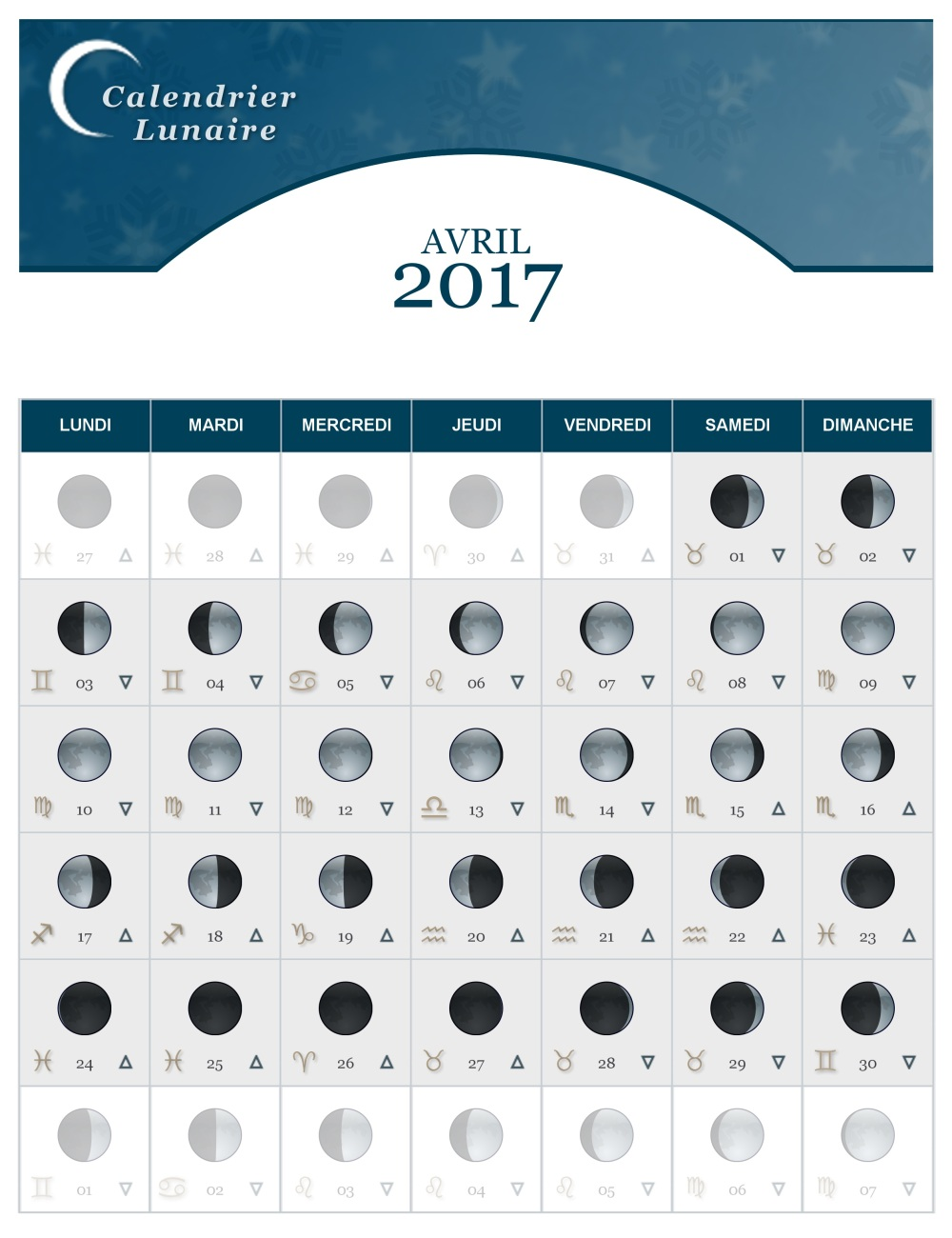 calendrier lunaire du mois d avril 2017 the lucky cath concept. Black Bedroom Furniture Sets. Home Design Ideas