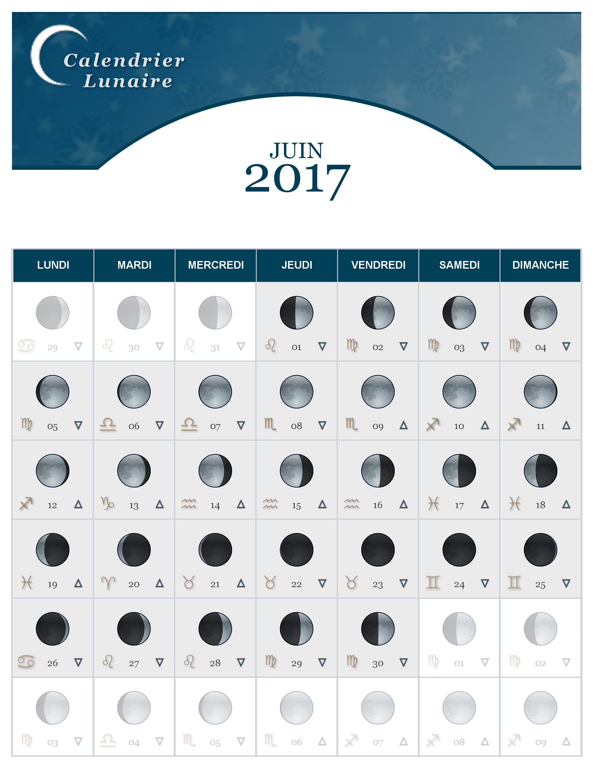 calendrier lunaire du mois de juin 2017 the lucky cath concept. Black Bedroom Furniture Sets. Home Design Ideas