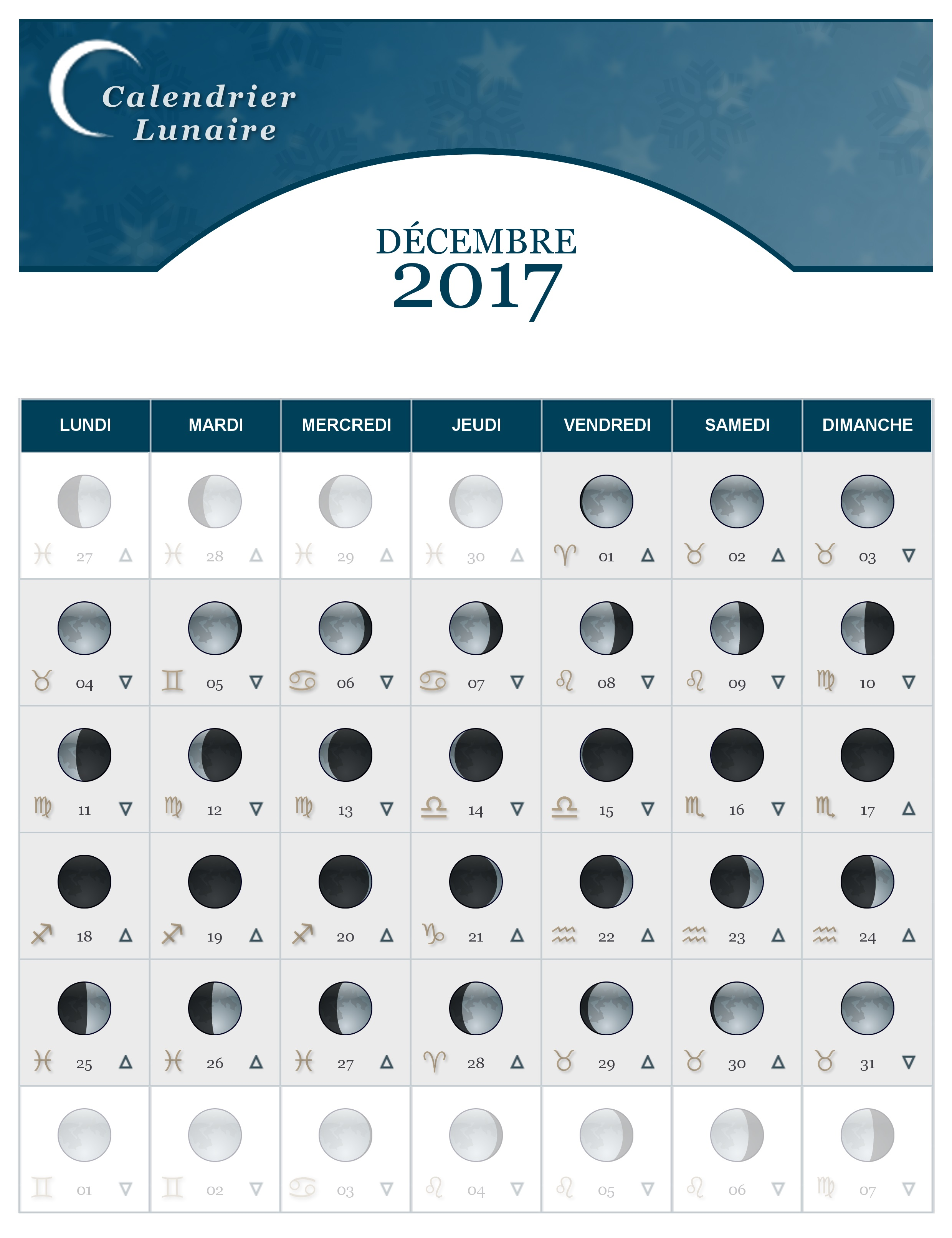 calendrier lunaire du mois de d cembre 2017 the lucky cath concept. Black Bedroom Furniture Sets. Home Design Ideas
